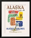 Alaska Airlines: Alaska - Golden Nugget Service, c.1950s Framed Giclee Print