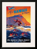 Fly To Hawaii by Clipper, Pan American World Airways c.1940s Framed Giclee Print by M. Von Arenburg