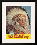 Santa Fe Railroad, The Chief Way, Native American Indian, c.1955 Framed Giclee Print
