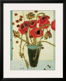 Poppies with Snap Pods Framed Giclee Print by Karen Tusinski
