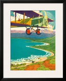 Bi-Plane Over The Hawaii Coastline, c.1928 Framed Giclee Print by Lucille Webster Holling