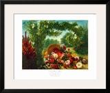 Floral Basket in a Park Prints by Eugene Delacroix