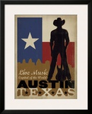 Austin, Texas: Live Music Capital Of The World Framed Giclee Print by  Anderson Design Group