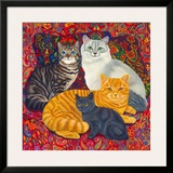 Carpet Cats II Framed Giclee Print by Megan Dickinson