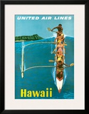 United Air Lines, Hawaii, Outrigger Canoe Framed Giclee Print by Stan Galli
