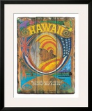 United Air Lines: Hawaii - Wood Panel Sign, c.1960s Framed Giclee Print