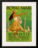 "Hawaii Hula, Royal Mail ""Atlantis"" c.1936 Framed Giclee Print by Percy Padden"