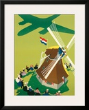 KLM Royal Dutch Airlines: Holland Windmill, c.1945 Framed Giclee Print by Paul Brillens