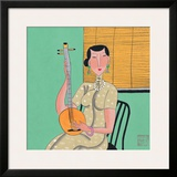Woman and Stringed Instrument Framed Giclee Print