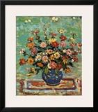 Flowers In A Blue Vase Print by Maurice Brazil Prendergast