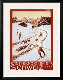 Winter Sport in Der Schweiz Art by P. Colombi