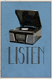 Listen Retro Record Player Plastic Sign Wall Sign