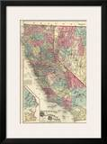 Map of the States of California and Nevada, c.1877 Print by Thos. H. Thompson