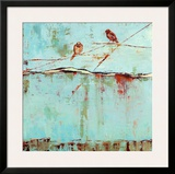 Birds on Horizon in Blue Prints by Janice Sugg