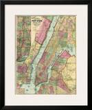 Map of New York and Adjacent Cities, c.1874 Prints by Gaylord Watson