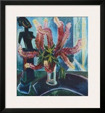 Still Life - Lupines with African Figure Poster by Max Pechstein