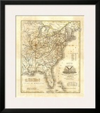 Map of The United States, c.1845 Poster by John Warner Barber