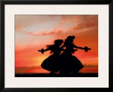 Hula Sisters: Hawaiian Hula Dancers at Sunset Framed Giclee Print by Randy Jay Braun