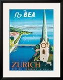 Fly British European Airways to Zurich Posters by Daphne Padden