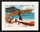 Waikiki Beach, Honolulu, Hawaii, c.1950s Framed Giclee Print by Fred Ludekens