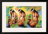 The Sun at the Source of Life, Hawaiian Hula Girls Framed Giclee Print by Warren Rapozo