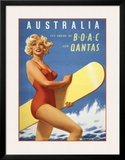 Fly to Australia by BOAC and Qantas Art