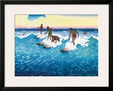 Surf Riders Honolulu, Hawaii, c.1925 Framed Giclee Print by Charles W. Bartlett