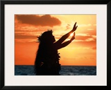 To Ask a Blessing: Hawaiian Hula Dancer at Sunset Framed Giclee Print by Randy Jay Braun