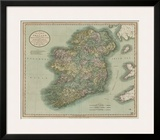 Vintage Map of Ireland Framed Giclee Print by John Cary