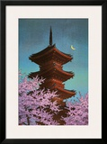 Pagoda in Moonlight Posters by Kawase Hasui