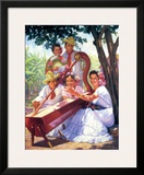 Harpist and Fans Print by Alfredo Gonzalez