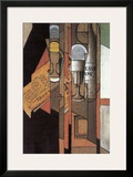 Glasses, Newspaper, and Bottle of Wine Framed Giclee Print by Juan Gris
