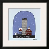 Boston Snow Globe Framed Giclee Print by Brian Nash