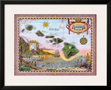 Antique Map of Old Hawaii Framed Giclee Print by Steve Strickland
