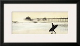 Surfer at Huntington Beach Posters by Thea Schrack