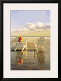 Chairs on the Beach Framed Giclee Print by Carlos Casamayor