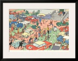 Tintin and the Red Sea Sharks: Car Rally Prints by  Hergé (Georges Rémi)