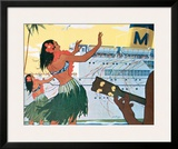 Hula Greeting on Boat Day, Honolulu Harbor, Hawaii, c.1930 Framed Giclee Print