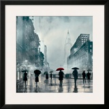 New York Red Umbrella Framed Giclee Print by Robert Canady
