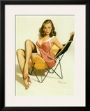 Pin-Up Girl: Beach Chair Framed Giclee Print