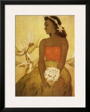 Hawaii, Wahine Hula Girl Framed Giclee Print
