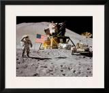 NASA - Astronaut,Rover,Flag On Moon  - ©Spaceshots Poster