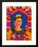 Self-Portrait with Flowers Framed Giclee Print by Frida Kahlo