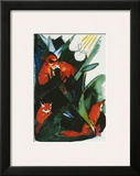 Four Foxes , Postcard to Kandinsky, c.1913 Art by Franz Marc