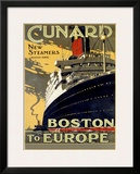 Cunard Line, Boston to Europe Framed Giclee Print