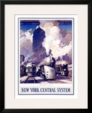 New York, Central Train System Framed Giclee Print