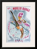 Bal du Moulin Rouge, French Cancan Framed Giclee Print by  Okley