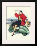Vespa Piaggio Girl Framed Giclee Print