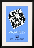 Expo Art Basel 83 - Echecs fond bleu Posters by Victor Vasarely