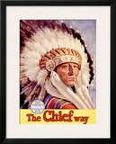 Santa Fe Railroad, Indian Chief, 1955 Framed Giclee Print